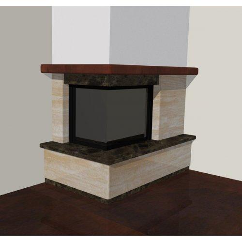 Угловой каминный портал из мрамора