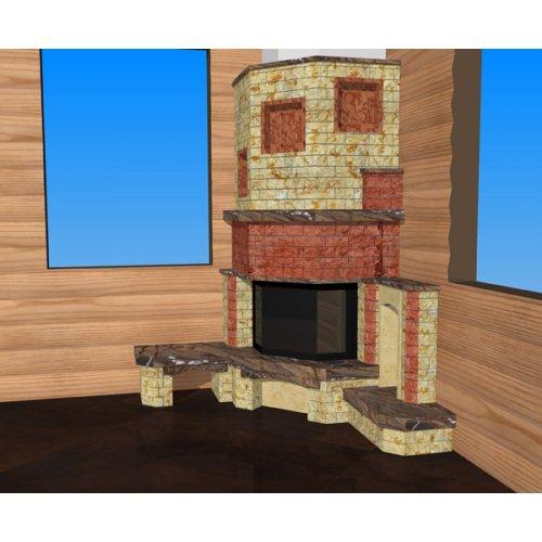 Угловой камин с двумя дровниками