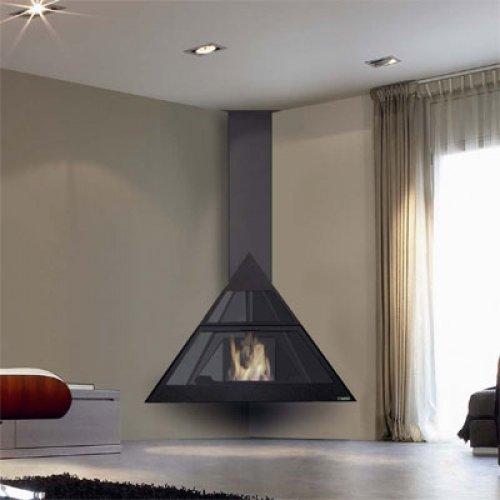 ADMETO - Угловой камин со стеклянной дверцей