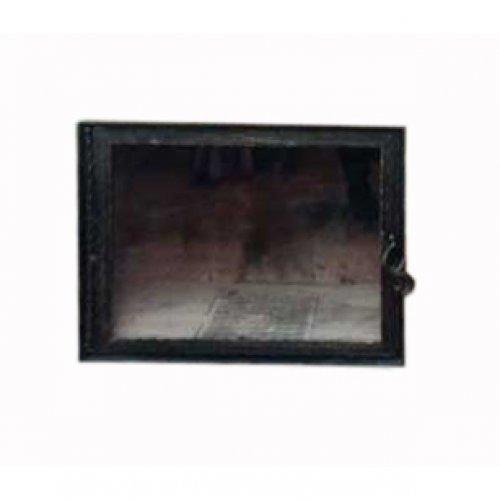 Прямая стеклянная дверь с кованой рамкой