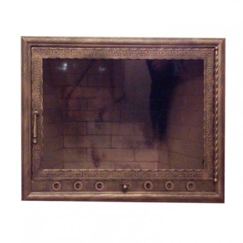 Кованая прямая дверка с прозрачным стеклом