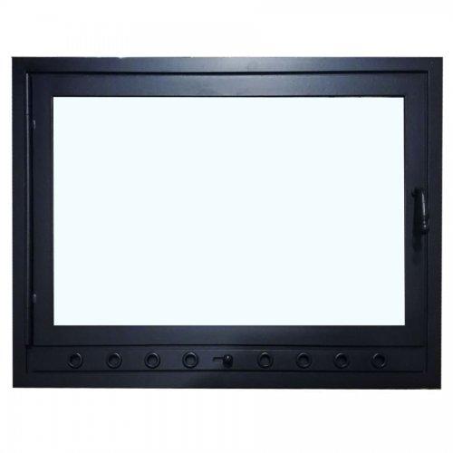 Кованая черная дверка без узоров