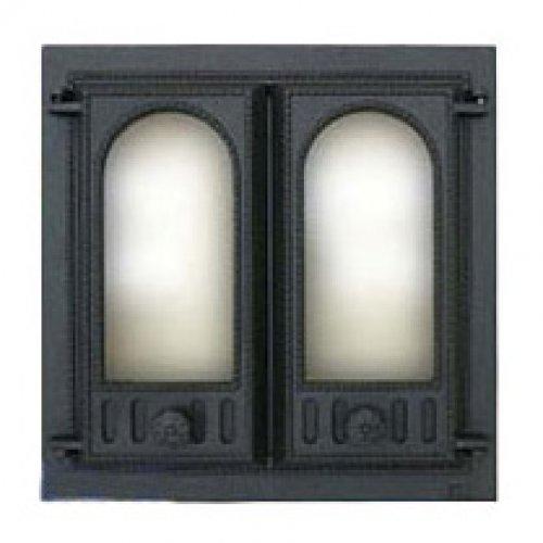 Каминная дверца чугунная двухстворчатая арт.400