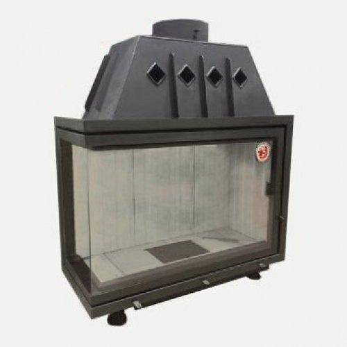 Альфа 1000L (арт. TA1000L, TA1000LB) - Угловая топка со стальным корпусом, левое стекло